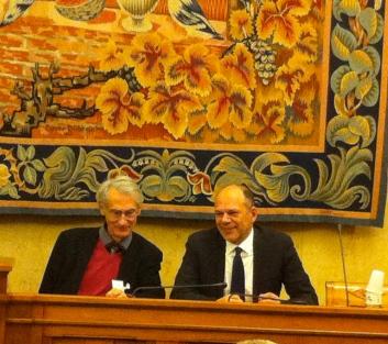 Le Député Yves Censi et Alain d'Iribarne chercheur au CNRS à l'occasion de la conférence Actinéo